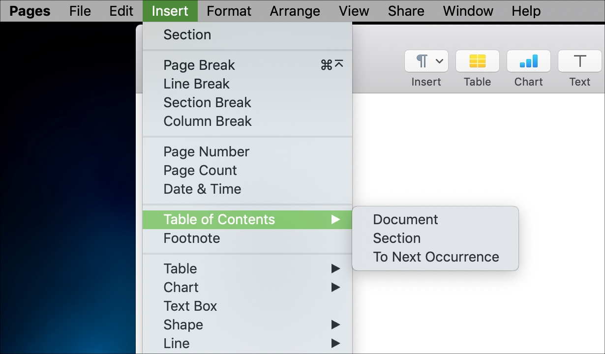 Insert a table of contents in Pages Mac