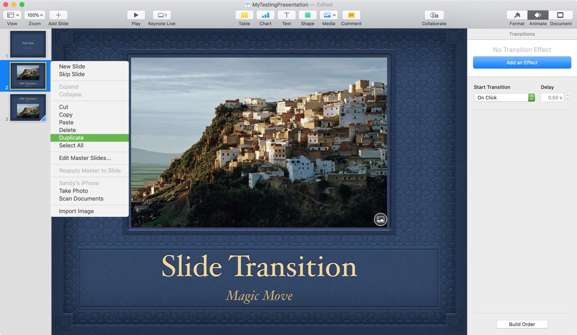 Keynote Magic Move Duplicate Slide