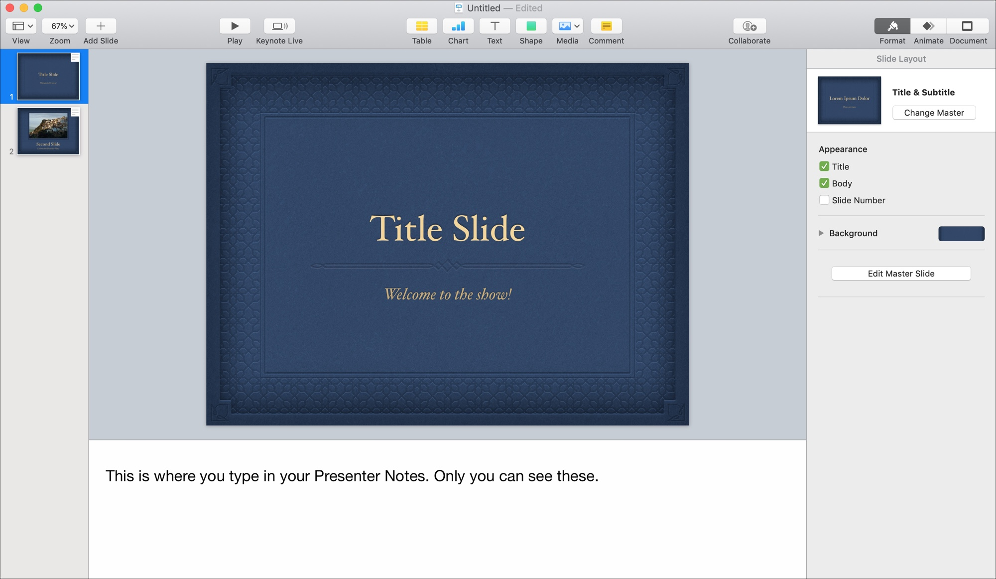 Keynote on Mac Create Presenter Notes