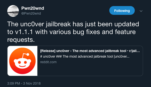 Pwn20wnd releases unc0ver V1 1 1 with more bug fixes and