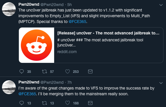Pwn20wnd releases unc0ver V1 1 2 to improve exploit success