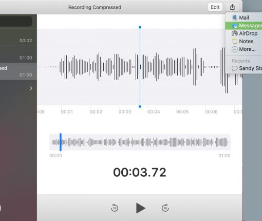 Send Voice Message with Voice Memos App Mac