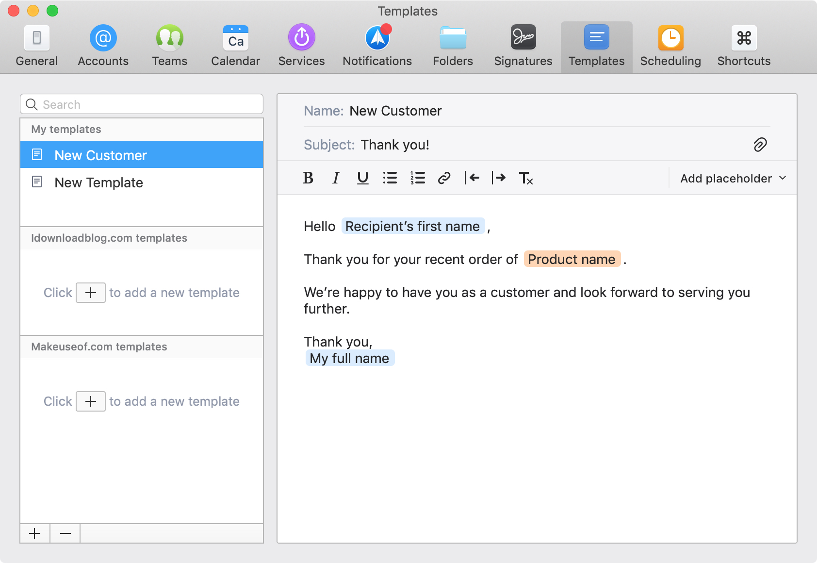 Spark Email Create New Customer Template on Mac
