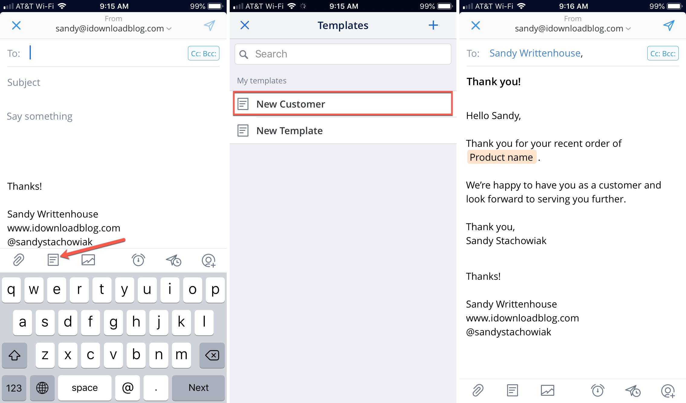 Spark Email Use New Template on iPhone