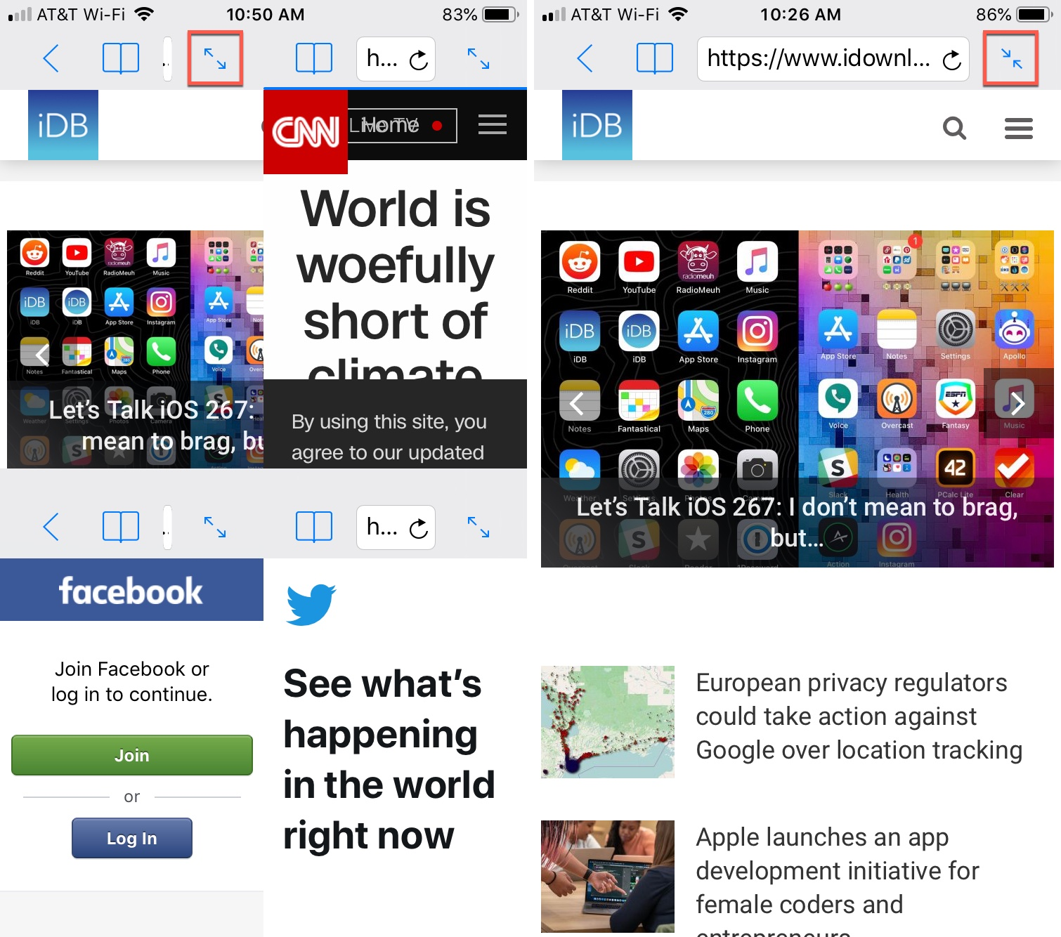 Split Web Browser iPhone Four to One Screen