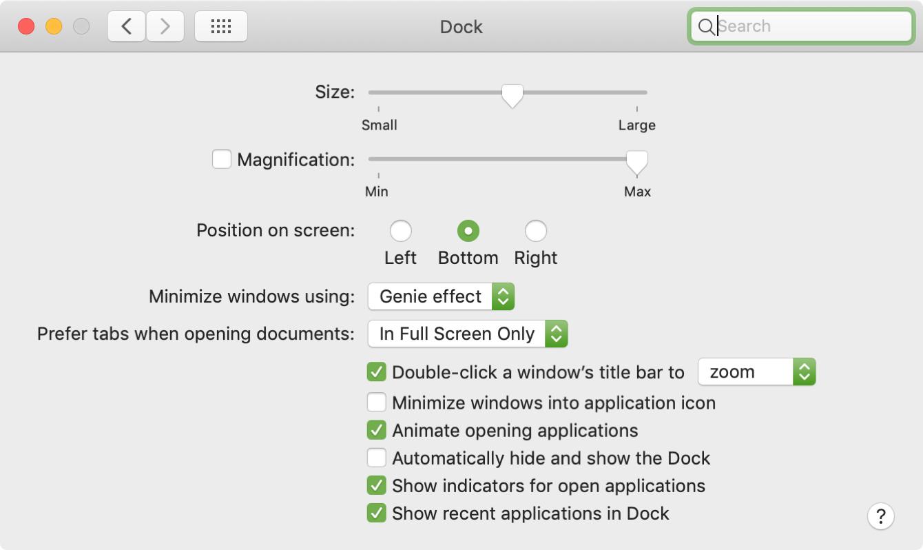 Configuración del Dock de Preferencias del Sistema