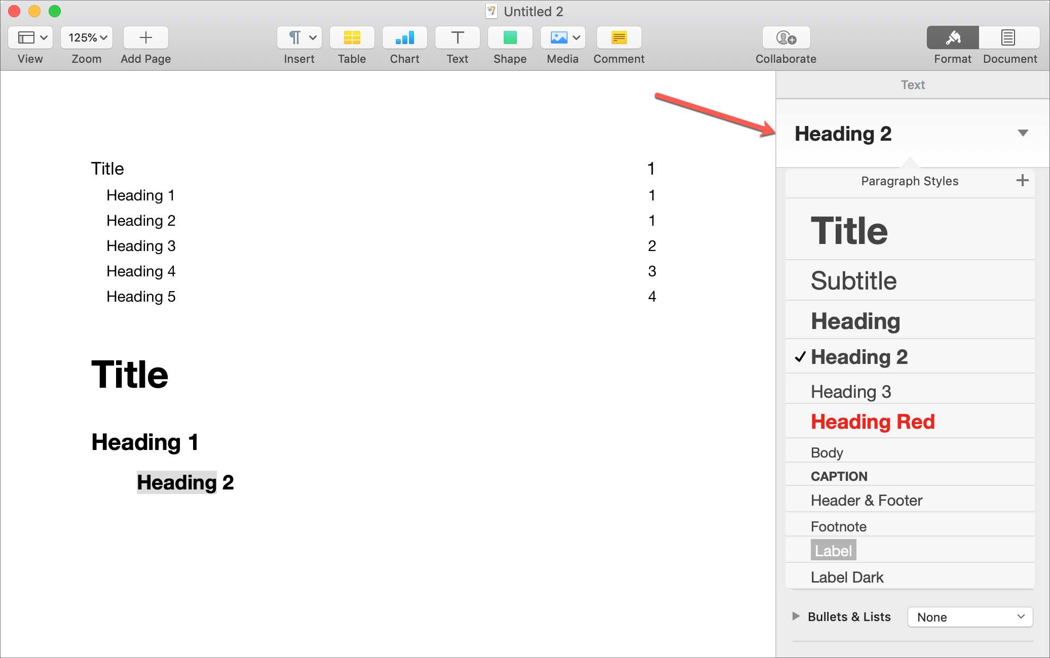 Create TOC in Pages Mac