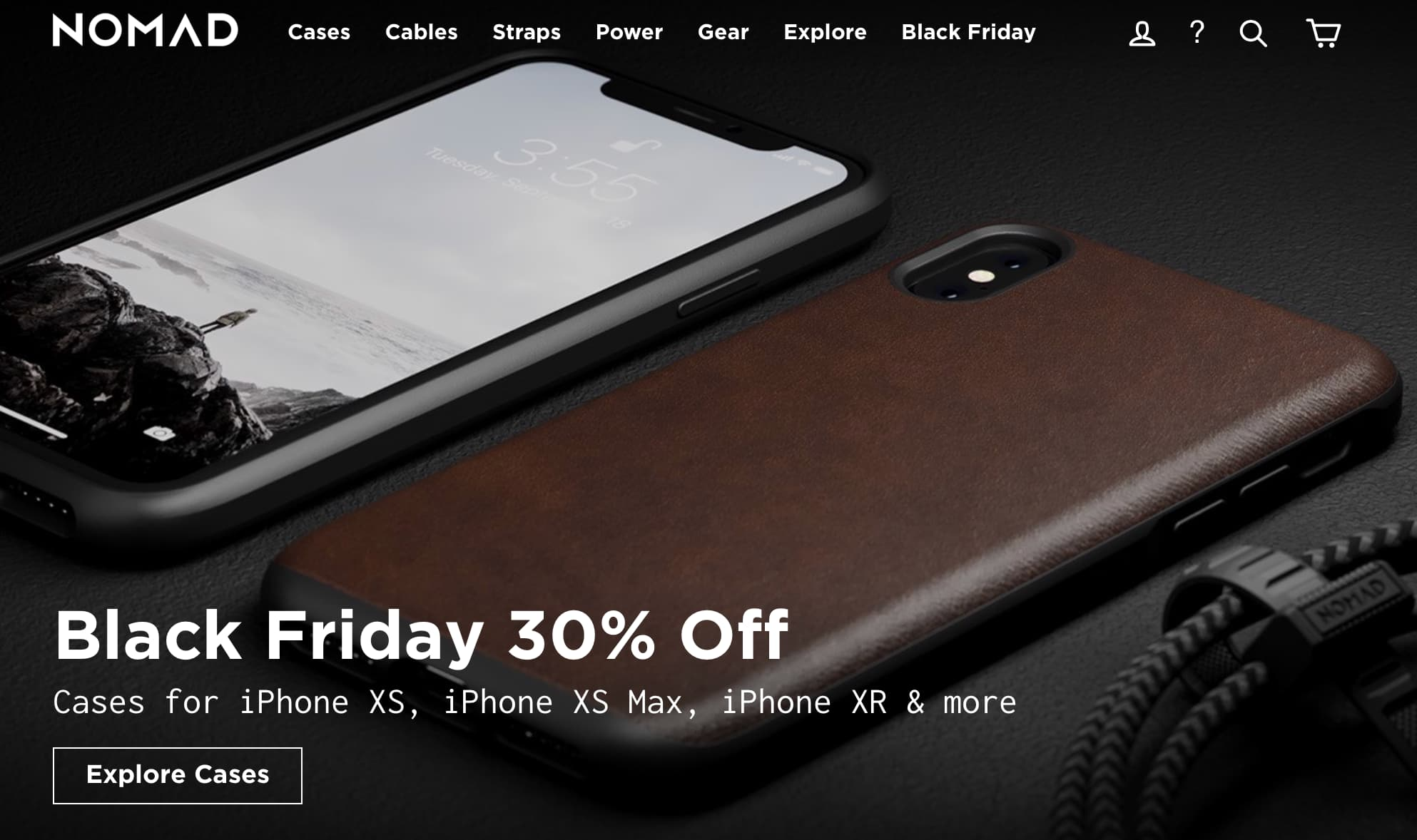 Nomad's Black Friday banner discount deal with an iPhone XS with an active screen.