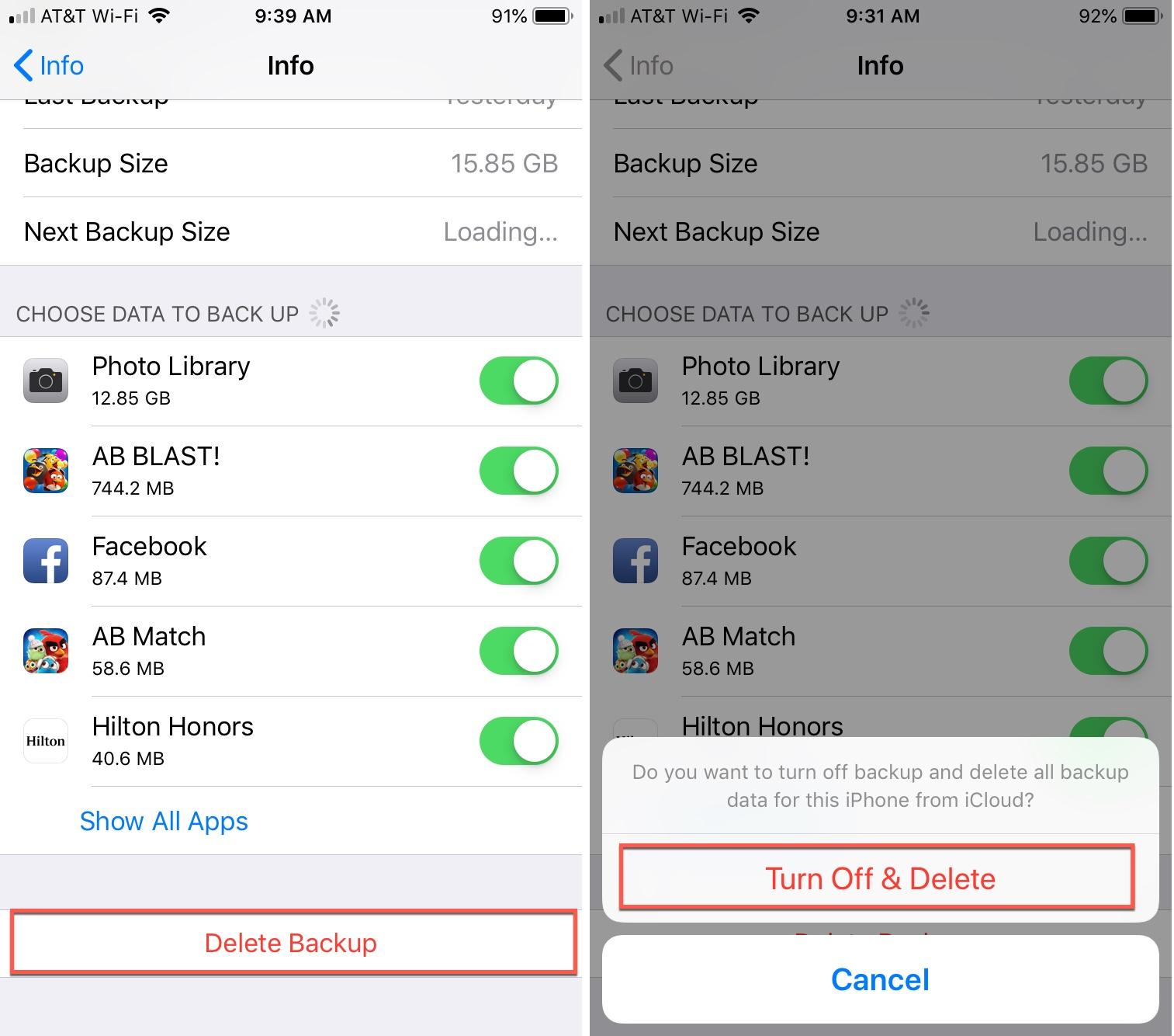 iCloud Delete Backup Turn Off iPhone