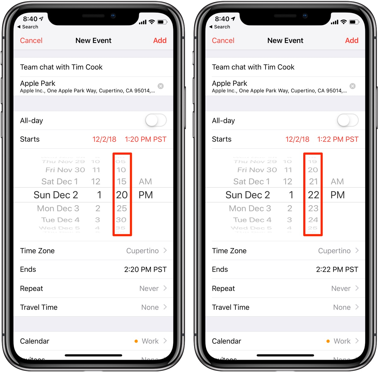 Apple Calendar tips for iPhone include double-tapping the spinning wheel time selector to set precise even times in 1-minute increments