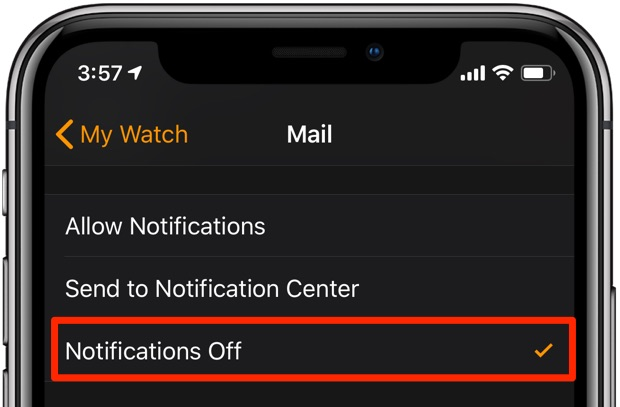 Apple Watch notifications - the Turn Off on Apple Watch settings in the Watch app on iPhone