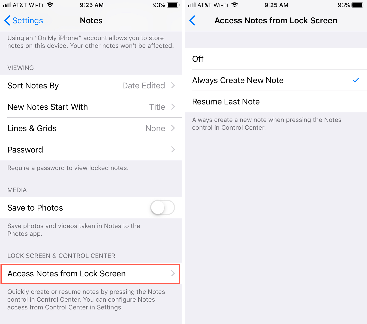 Access Notes from Lock Screen iPhone