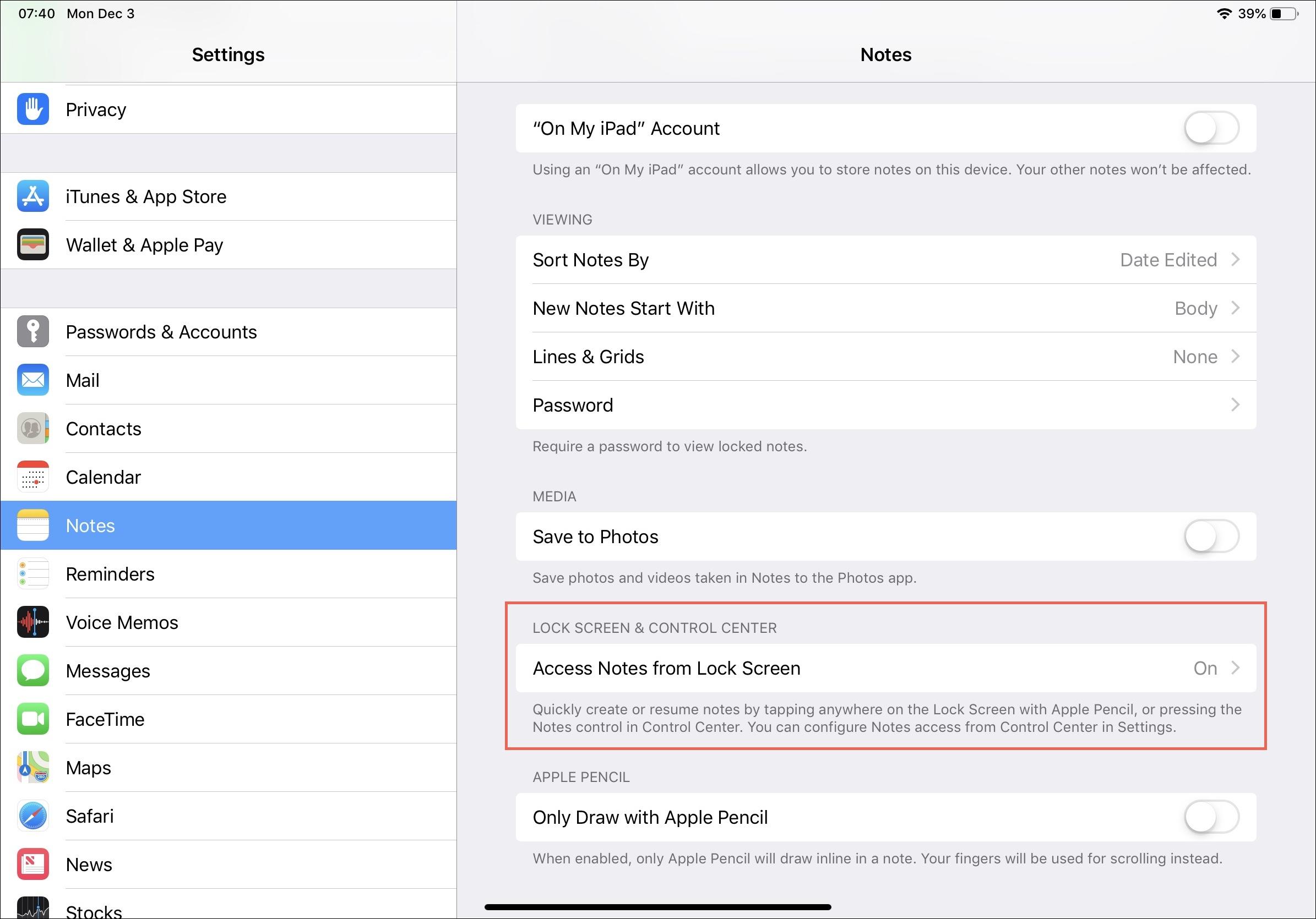 Access Notes on Lock Screen on iPad