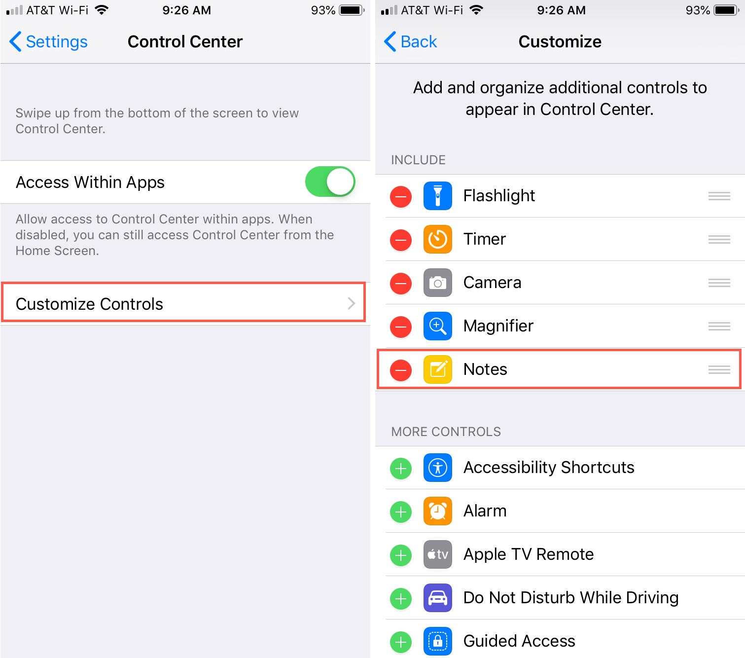 Add Notes to Control Center iPhone