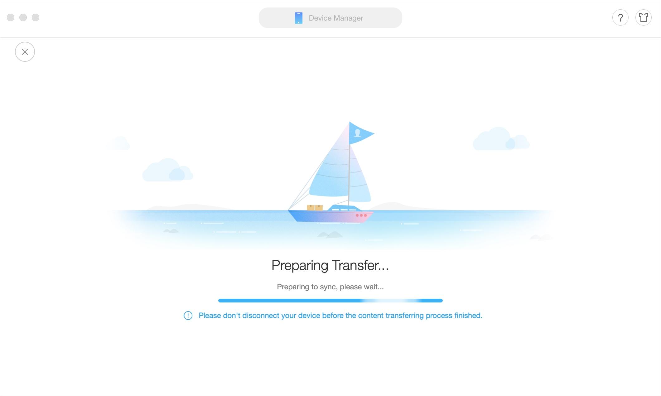 AnyTrans Preparing Transfer