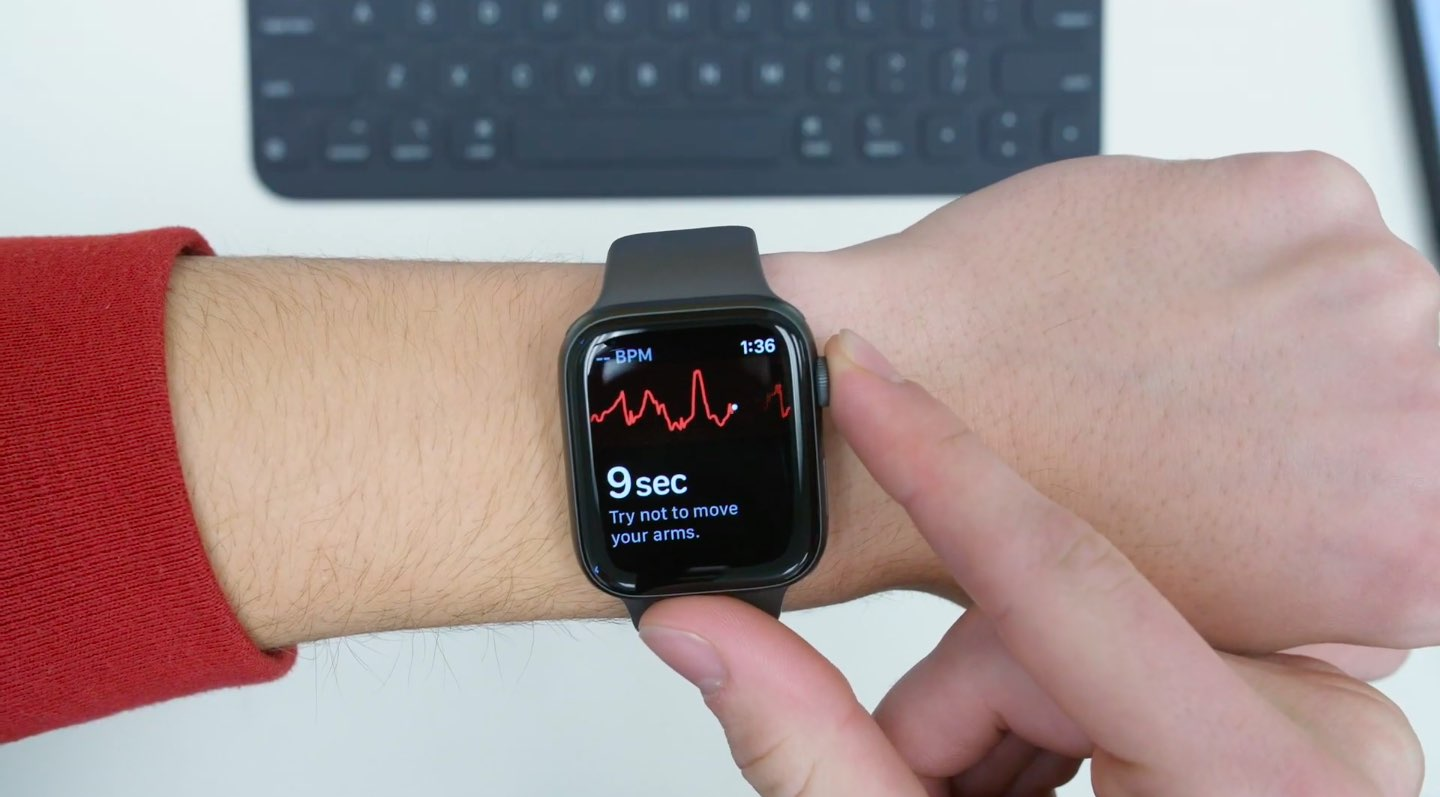 Apple Watch Series 5 on a wrist, with the ECG app running