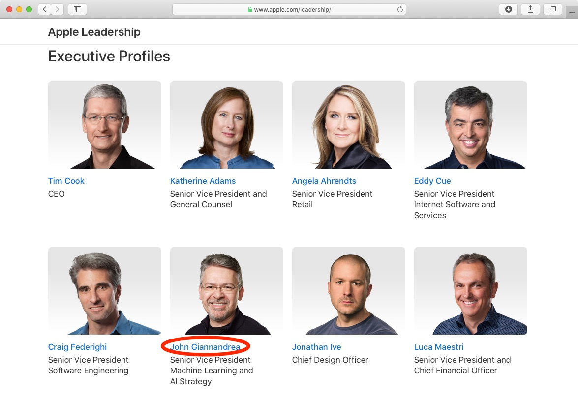 Apple names John Giannandrea to its executive team as SVP of ML and