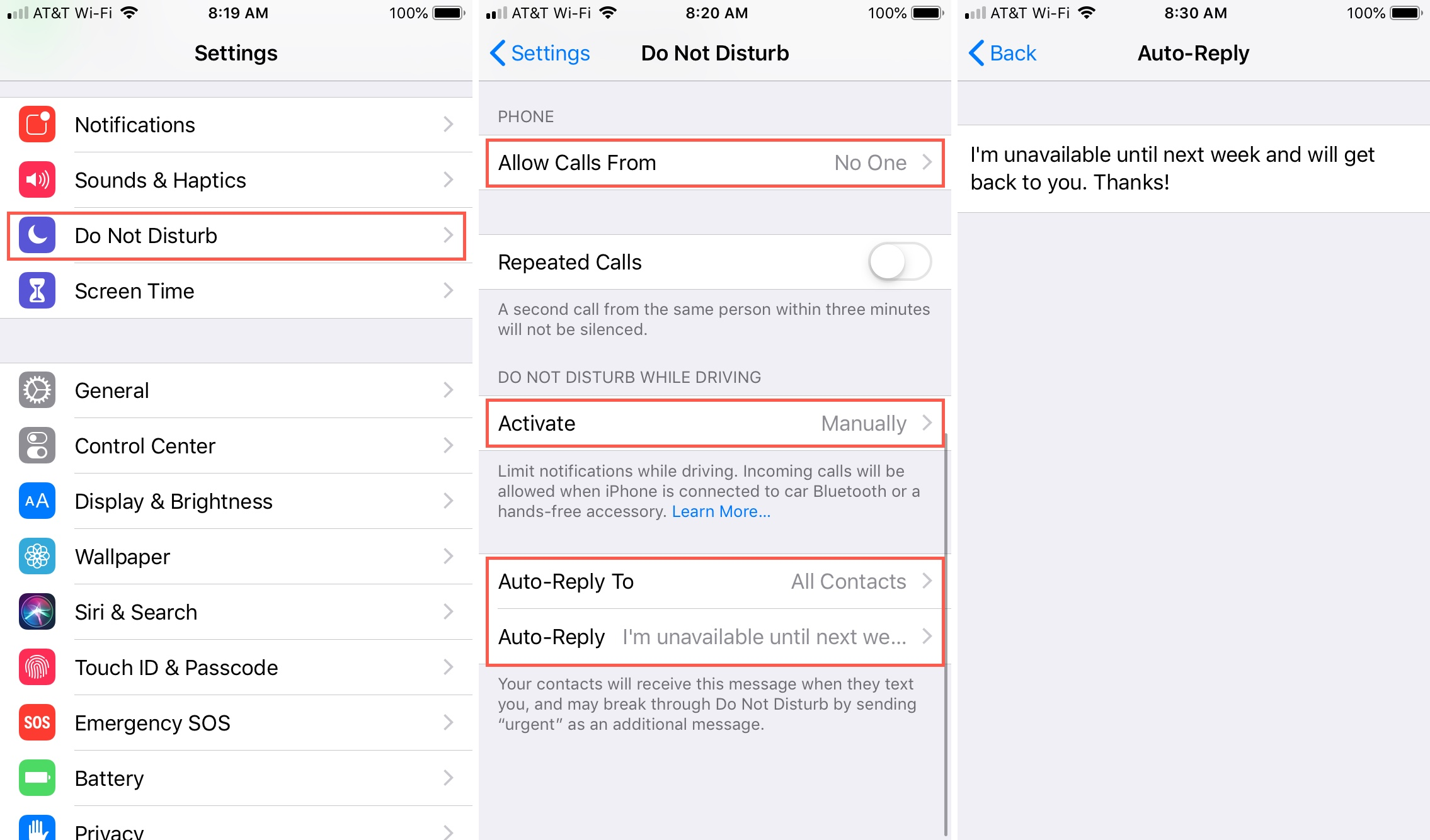 How to set an automatic text reply for phone calls and text