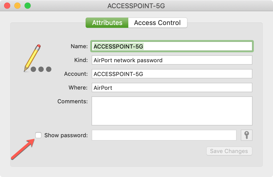 Click Show Password for Network on Mac