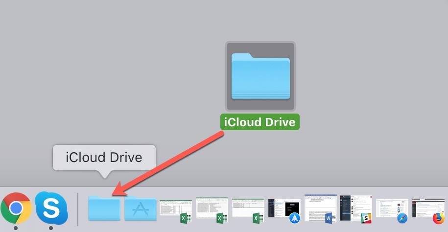 Drag iCloud Drive to Dock Mac