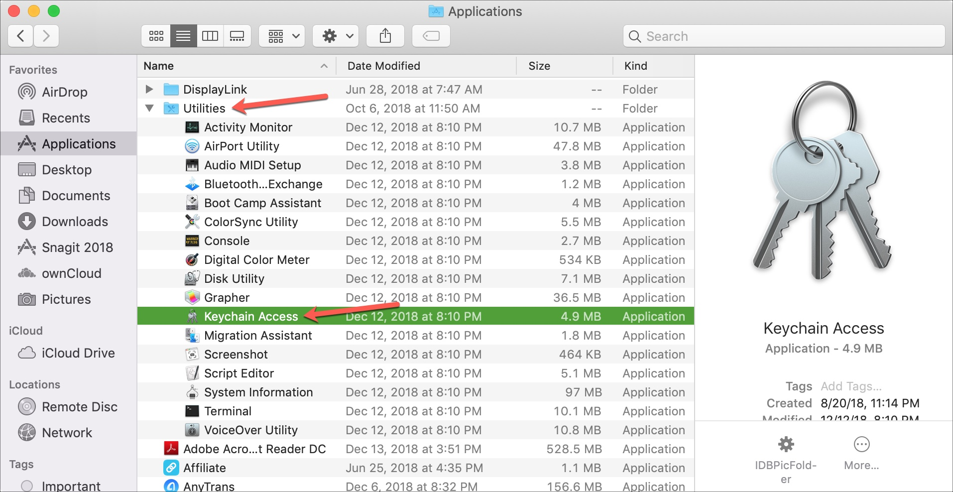 Finder Applications Utilities Keychain Access on Mac