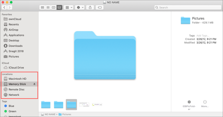Finder Sidebar Locations in Finder Window on Mac
