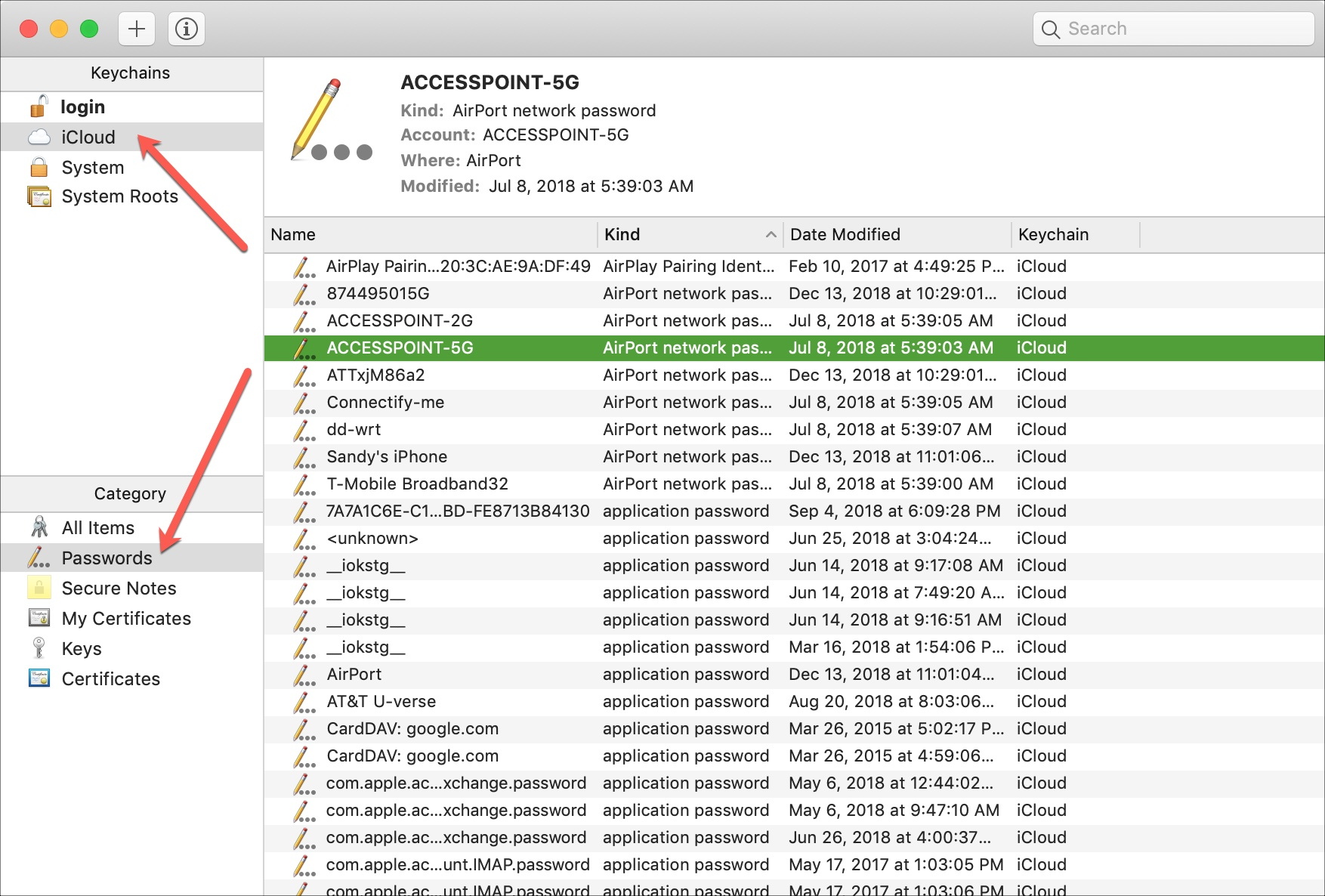 Keychain Access iCloud Passwords on Mac