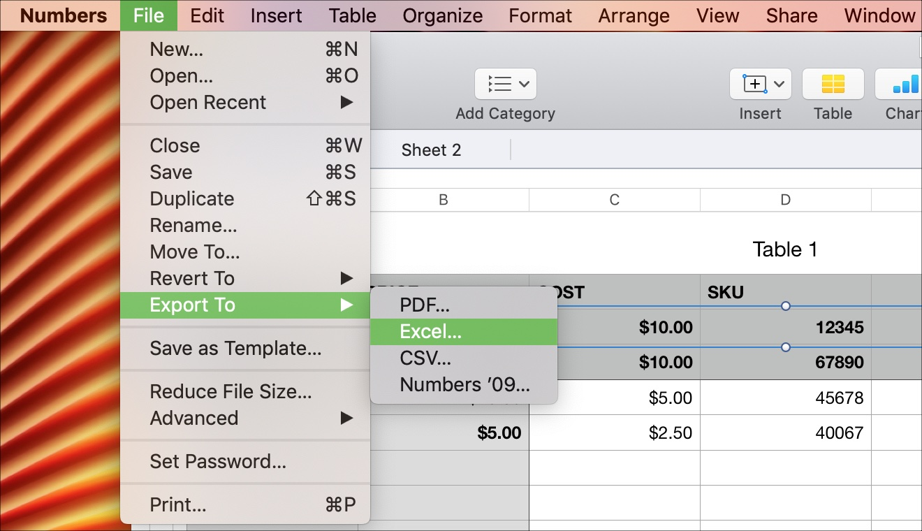 Menu to Export Numbers to Excel on Mac
