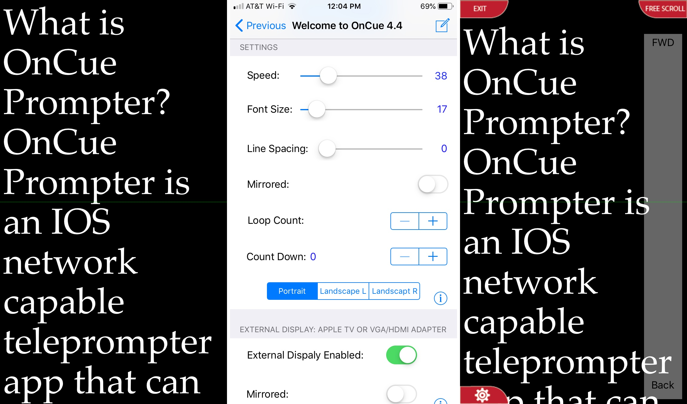 OnCue Prompter on iPhone