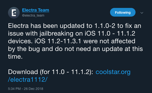 Electra jailbreak tool updated to resolve an issue on iOS