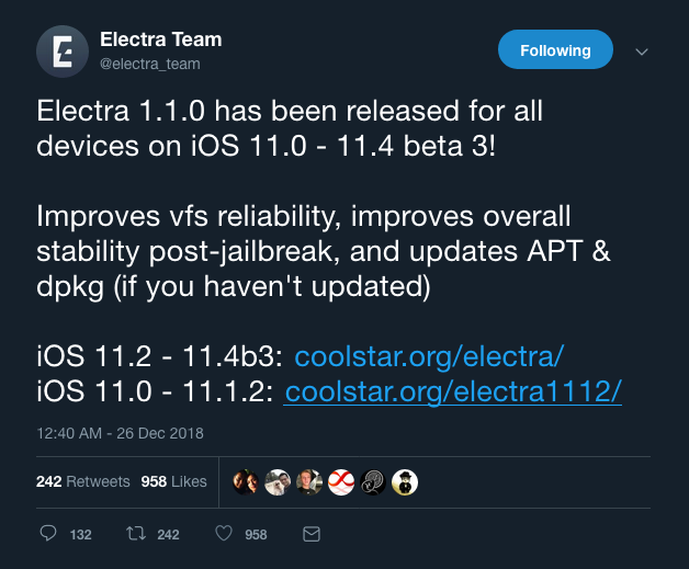 Electra jailbreak updated to version 1 1 0 with bug fixes, stability