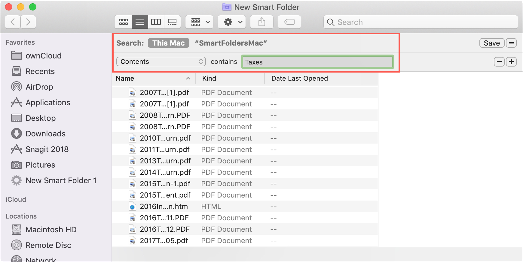 Smart Folder for Contents
