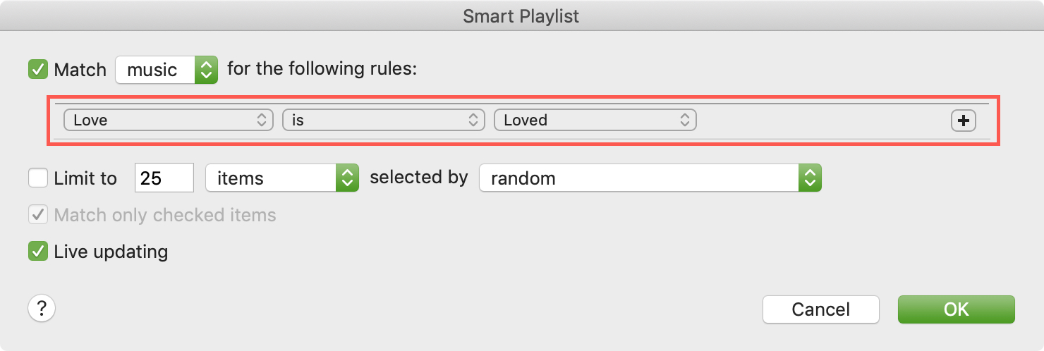 Smart Playlist Rules on Mac
