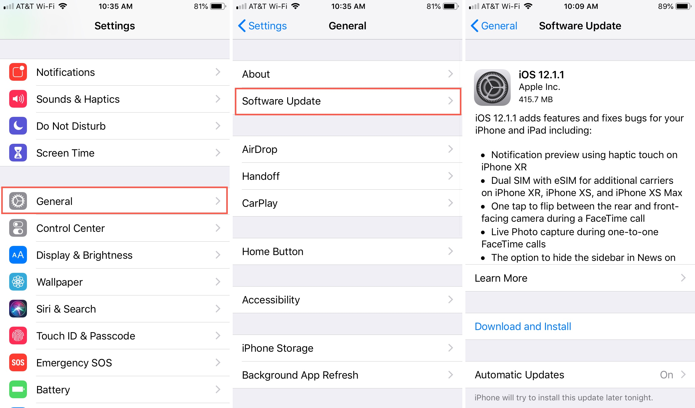 Software Update in iPhone Settings