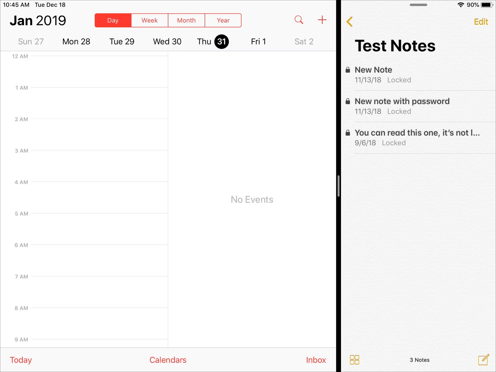 Split View on iPad Calendar Notes