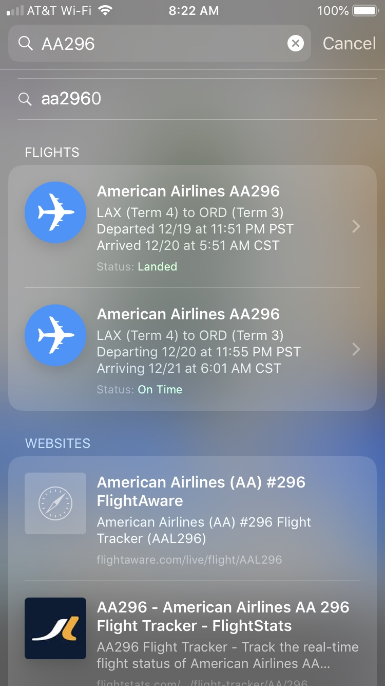 Track Flights Spotlight Search iPhone
