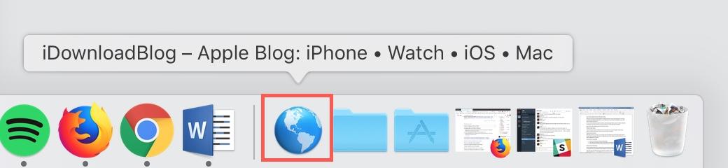 Website Shortcut with Globe in Dock Mac