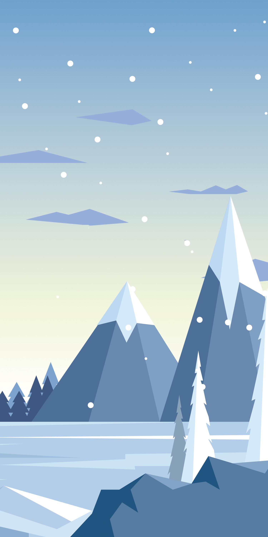 snow mountaints white background