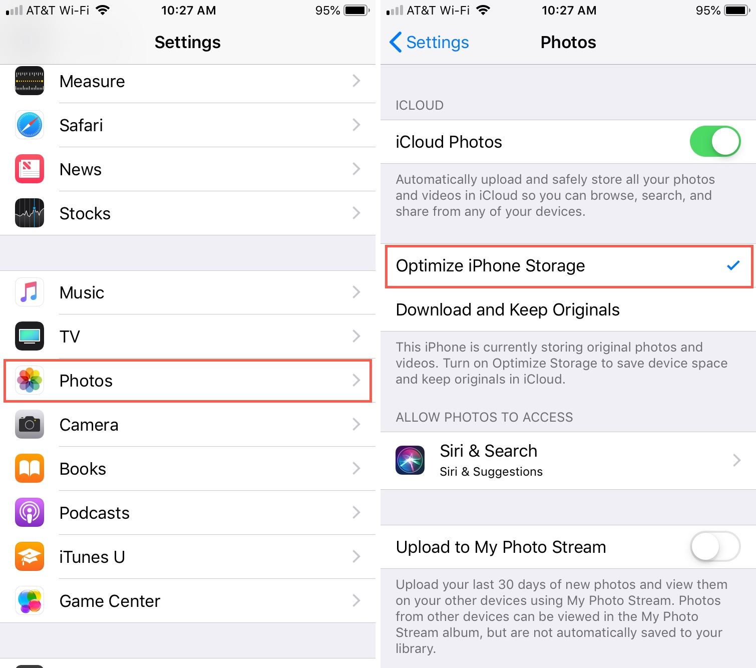 iPhone Optimize Storage for Photos