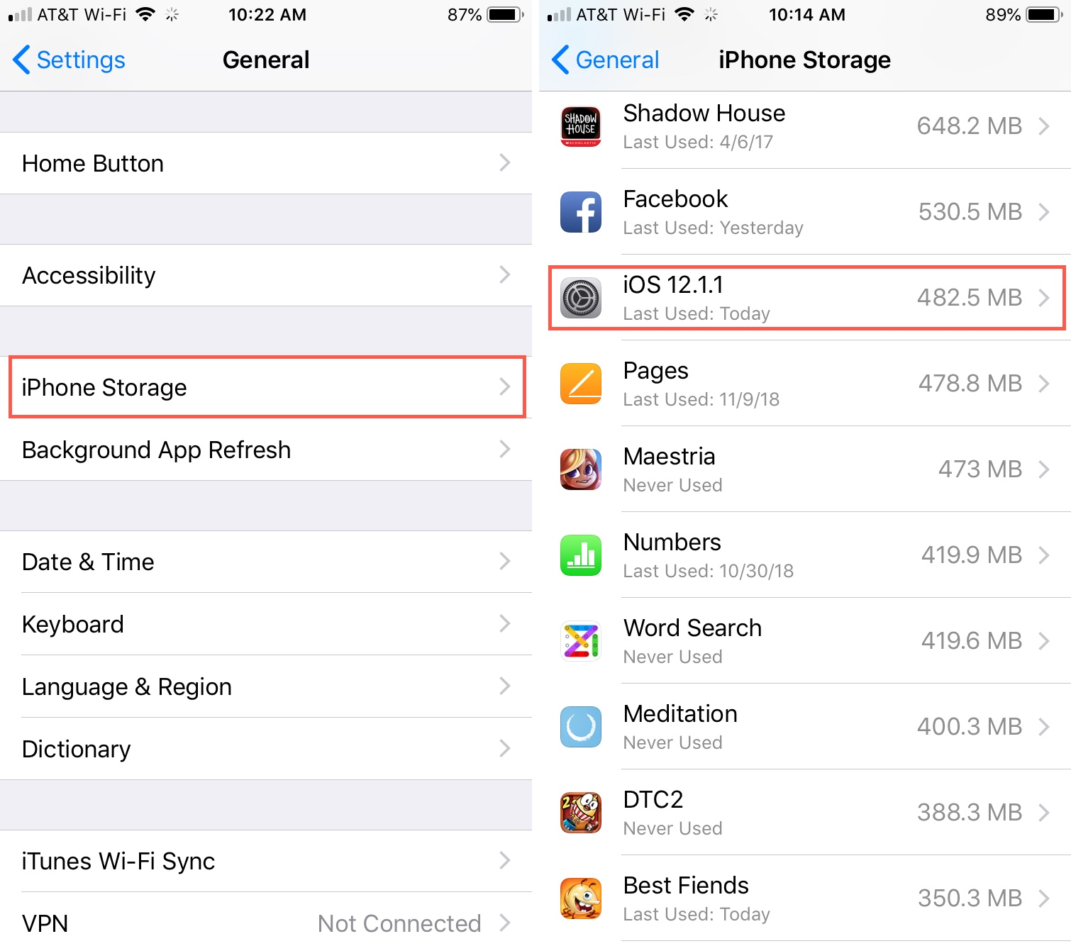 iPhone Storage Recent iOS File