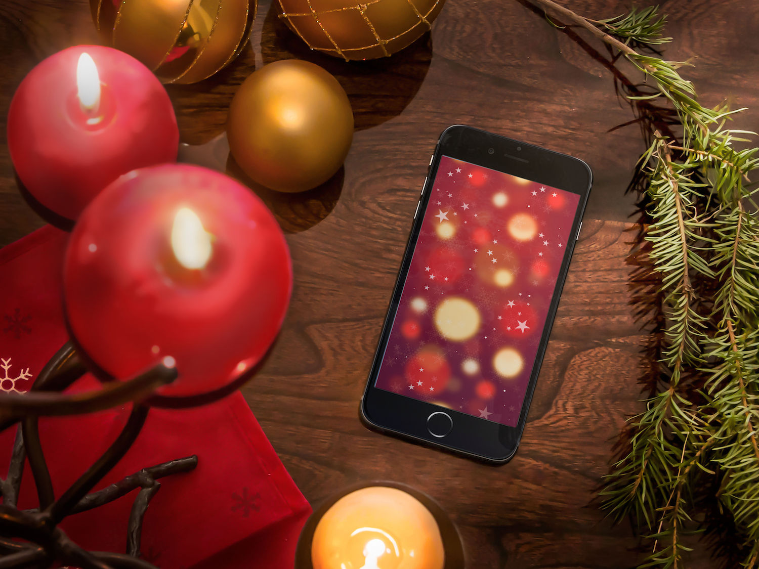 iphone 6 on the candles christmas