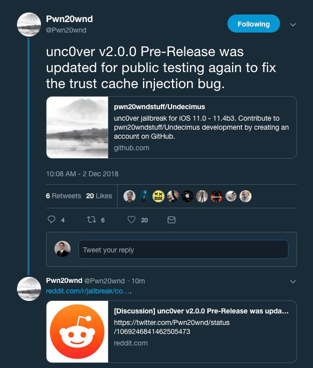 Pwn20wnd updates unc0ver v2 0 0 pre-release again to fix a trust