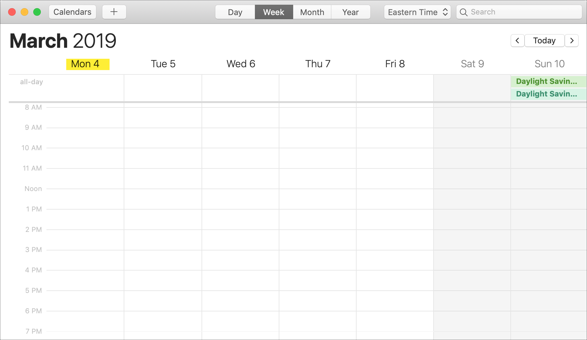 Calendar on Mac Week Starts on Monday
