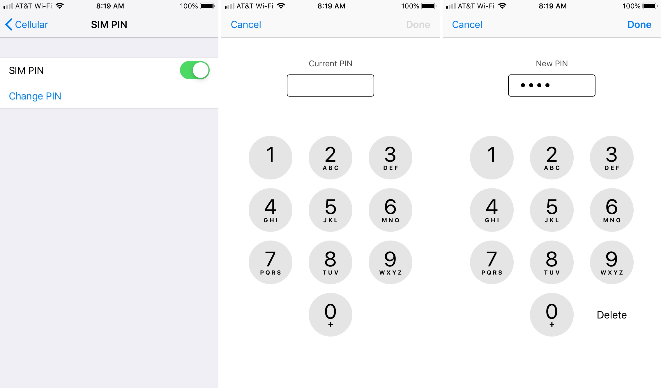 Changer le code PIN Entrez le code PIN actuel et le nouveau iPhone