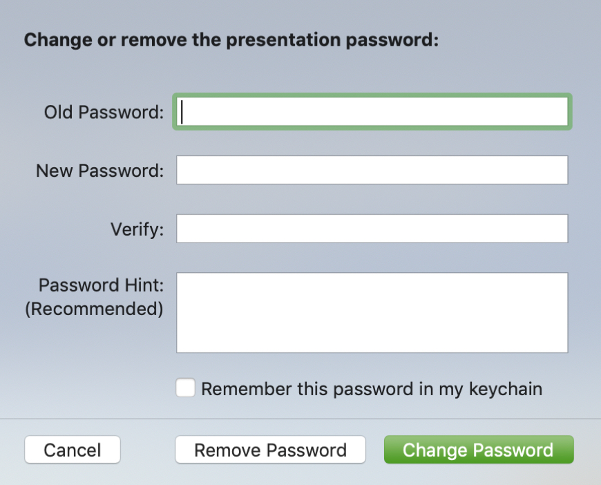 Change or Remove Password for Keynote on Mac