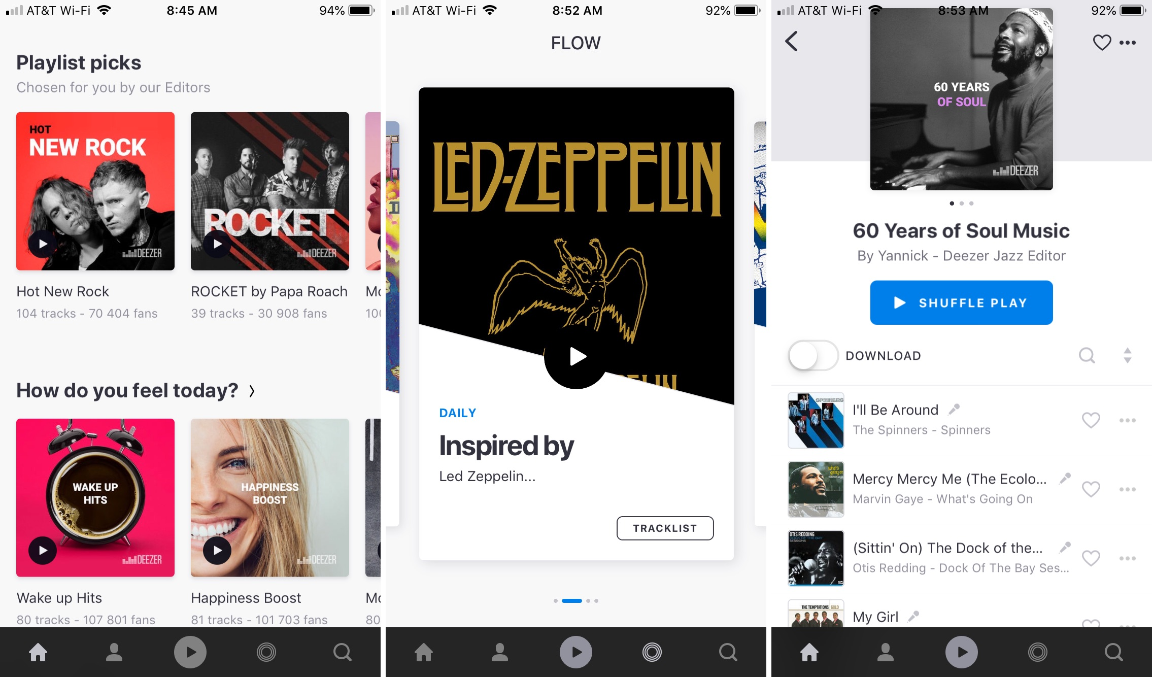 Deezer app on iPhone