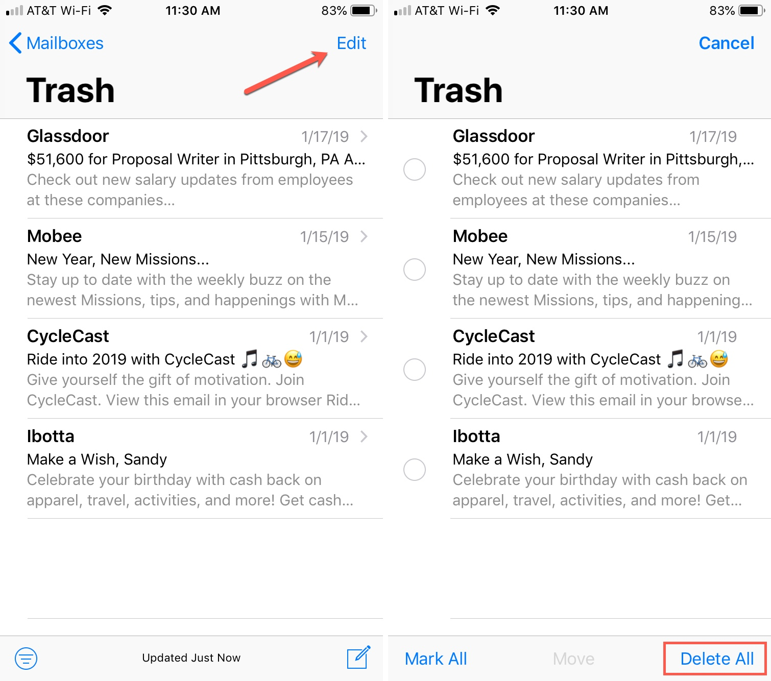 Delete emails from Trash iPhone Mail