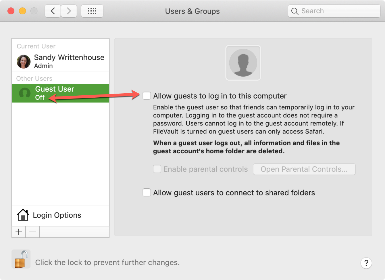 Disable Guest User login on Mac
