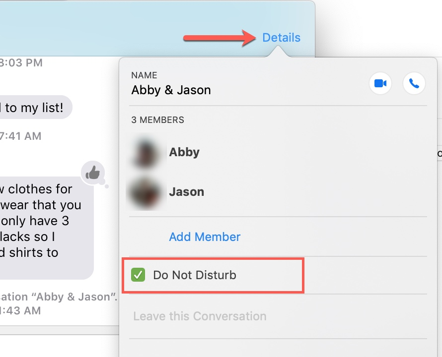 Do Not Disturb for Group Text Mac