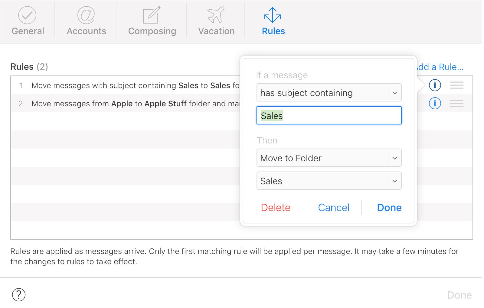 Edit or Delete a Rule iCloud Mail